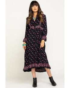 Free People Women's Calico Skies Midi Dress, Black, hi-res