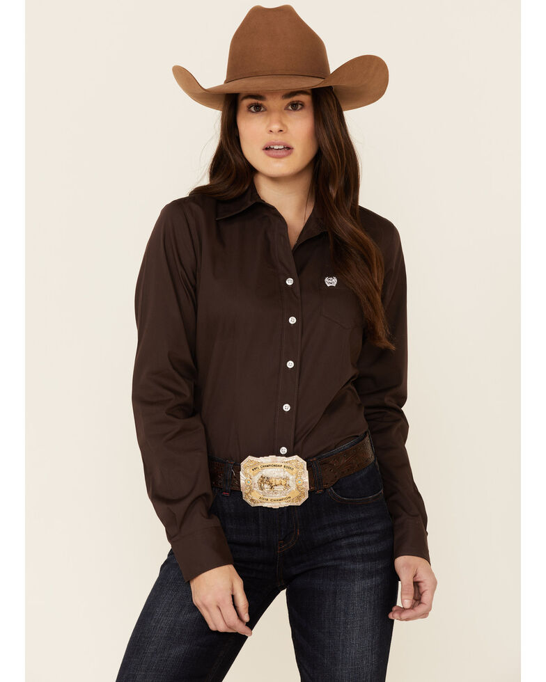 Cinch Women's Solid Brown Long Sleeve Button-Down Western Core Shirt , Brown, hi-res