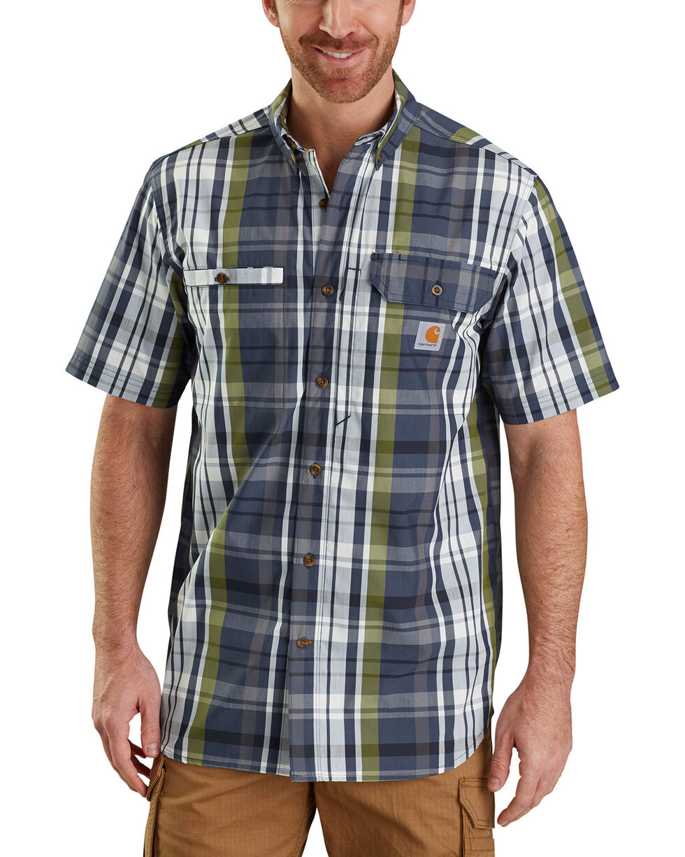 Carhartt Force Men's Plaid Ridgefield Solid Short Sleeve Shirt, Navy, hi-res