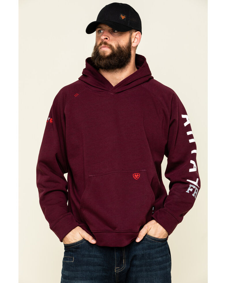 Ariat Men's Malbec FR Primo Fleece Roughneck Hooded Sweatshirt , Red, hi-res