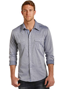 Rock & Roll Cowboy Men's Allover Dobby Print Shirt , Light/pastel Blue, hi-res