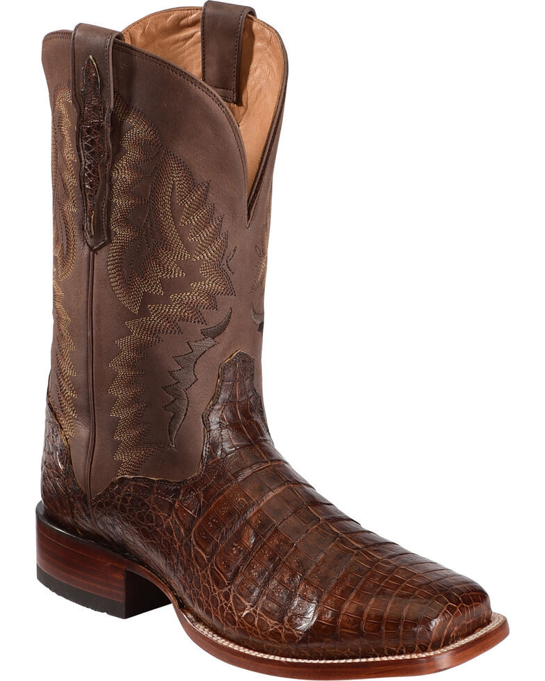 El Dorado Men's Handmade Caiman Belly Brass Stockman Boots - Square Toe, Bronze, hi-res