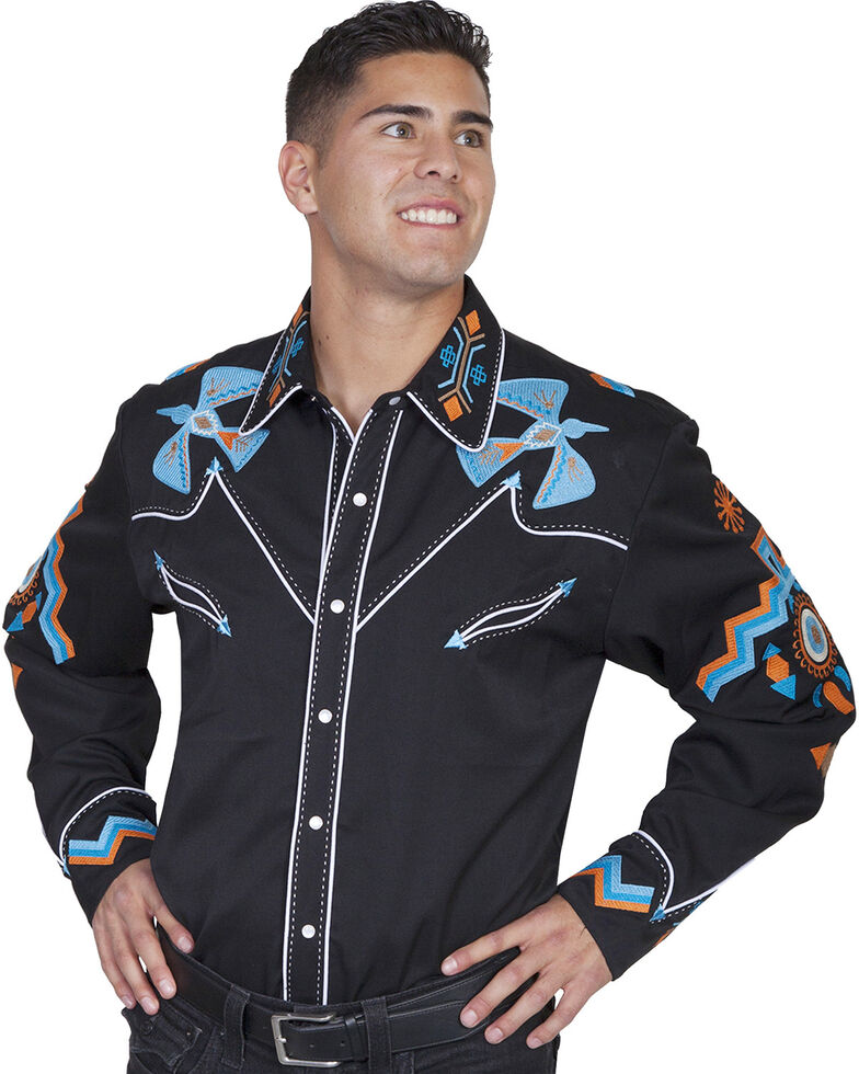 Scully Men's Phoenix Embroidered Retro Long Sleeve Western Shirt - Big & Tall , Black, hi-res