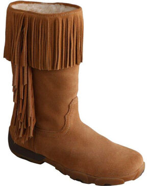 Twisted X Women's Fringe Driving Moc Boots, Natural, hi-res
