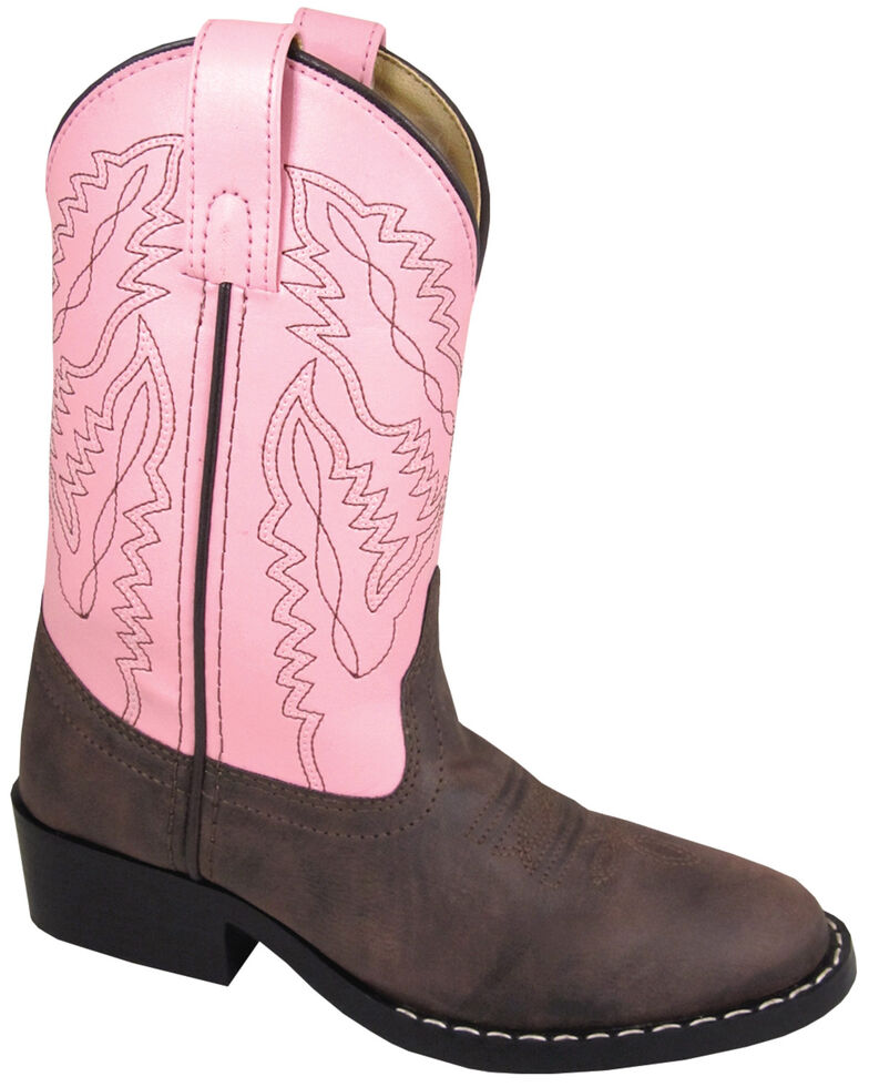 Smoky Mountain Youth Girls' Monterey Western Boots - Round Toe, Brown, hi-res