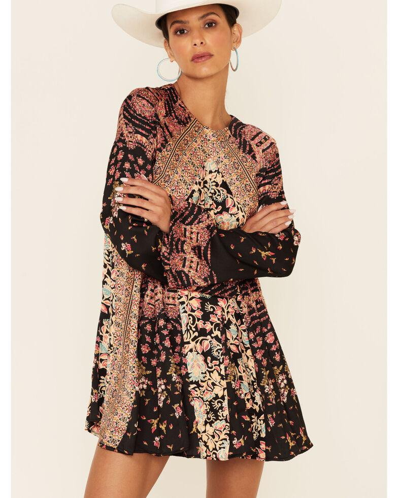 Free People Women's Stevie Floral Print Tunic , Black, hi-res