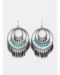 Shyanne Women's Triple Hooped Oversized Fringe Earrings, Silver, hi-res