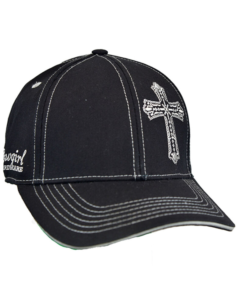 Cowgirl Hardware Women's Black Offset Embroidered Cross Ball Cap , Black, hi-res