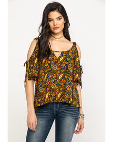 Shyanne Women's Navy Paisley Cold Shoulder Top , Navy, hi-res