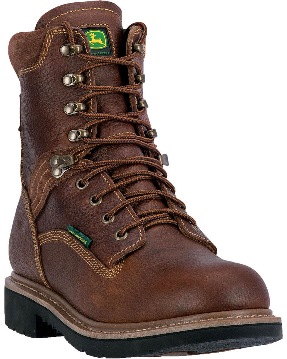 "John Deere Men's 8"" Waterproof Lace-Up Work Boots - Steel Toe , Brown, hi-res"