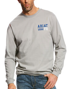 Ariat Men's Silver Fox FR Americana Graphic Crew Long Sleeve Work Shirt , Silver, hi-res