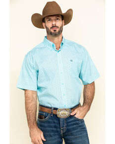 Cinch Men's Light Blue Small Geo Print Short Sleeve Western Shirt , Light Blue, hi-res