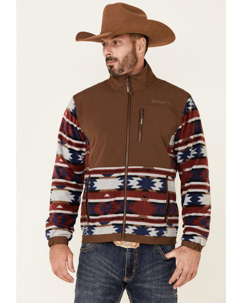 HOOey Men's Brown Aztec Color-Block Zip-Front Fleece Jacket , Brown, hi-res
