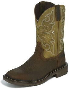 Justin Men's Cactus Western Work Boots - Square Toe, Brown, hi-res
