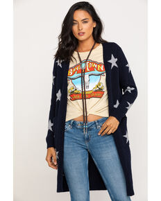 Miss Me Women's Navy Star Cardigan , Navy, hi-res