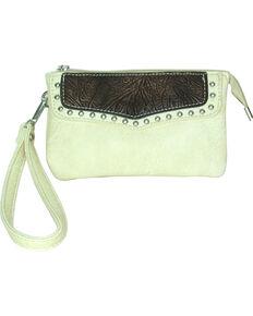 Savana Women's Faux Leather Clutch Zip Wristlet , Cream, hi-res