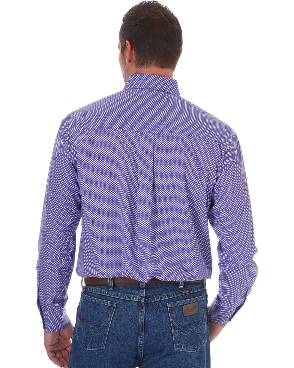 Wrangler George Strait Men's Purple Diamond Print Long Sleeve Button Down Shirt, Purple, hi-res