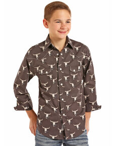 Rock & Roll Cowboy Boys' Poplin Longhorn Skull Print Long Sleeve Western Shirt , Black, hi-res