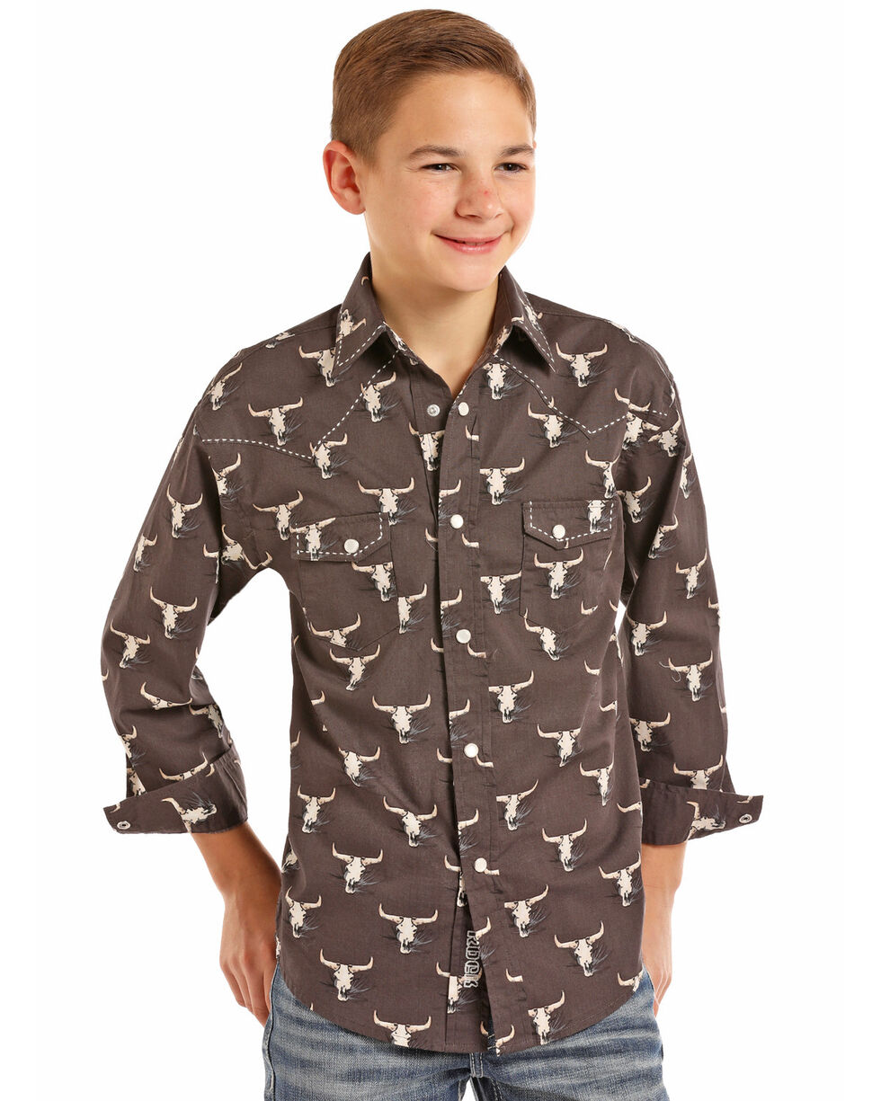 Rock & Roll Cowboy Boys' Poplin Longhorn Skull Print Long Sleeve Western Shirt , Black, hi-res