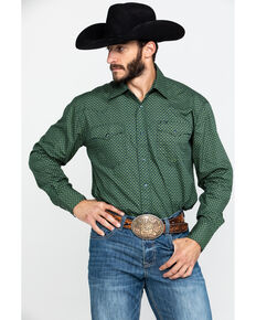 Roper Men's Amarillo Meadow Satelite Geo Print Long Sleeve Western Shirt , Green, hi-res