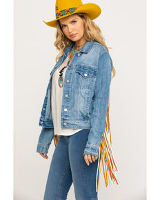 Honey Creek by Scully Women's Colorful Fringe Denim Jacket, Blue, hi-res