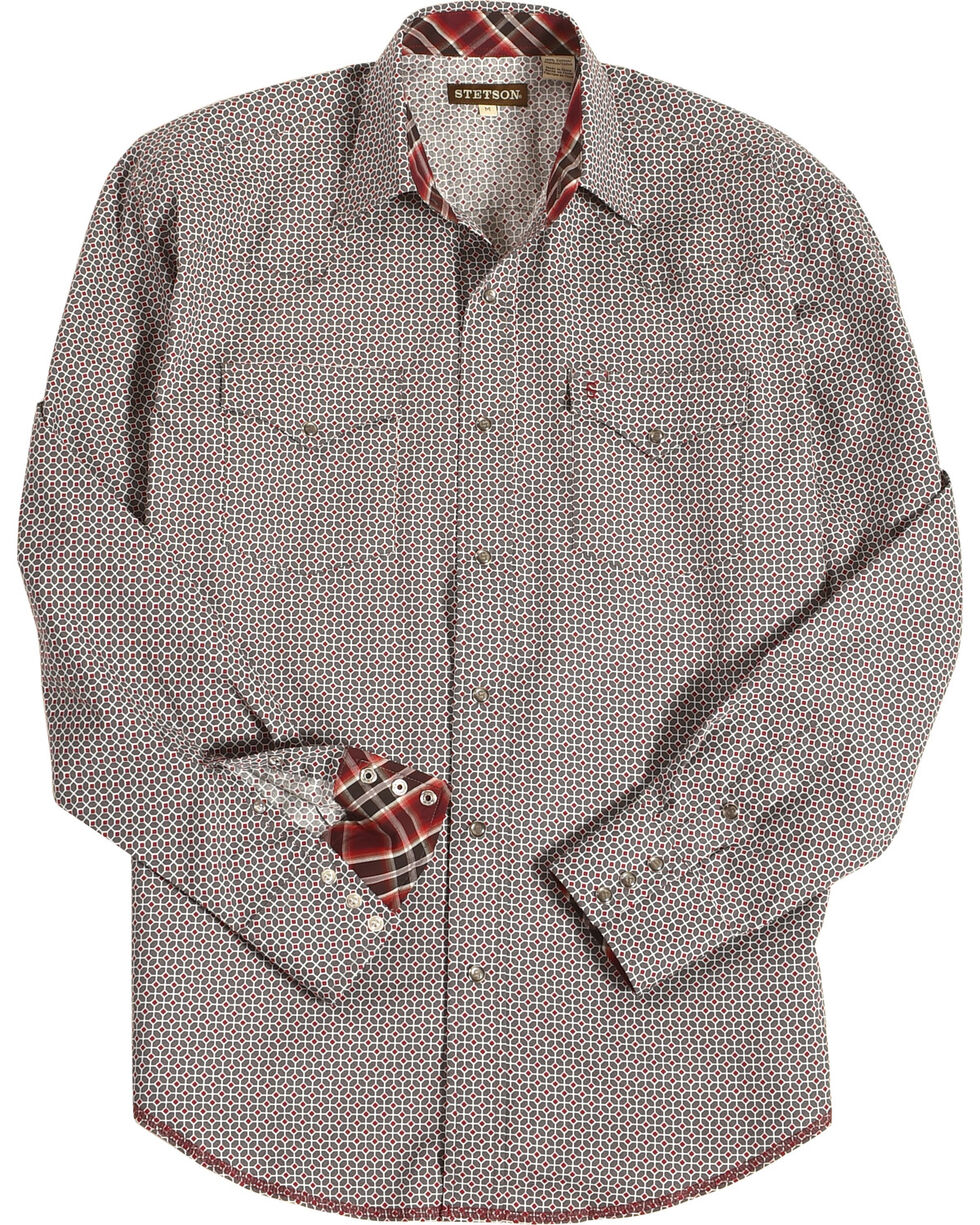 Stetson Men's Grey Geo Print Long Sleeve Shirt , Grey, hi-res