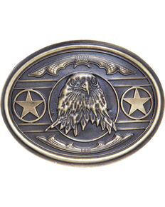 AndWest Men's Patriotic Bald Eagle with Stars Belt Buckle, Brass, hi-res