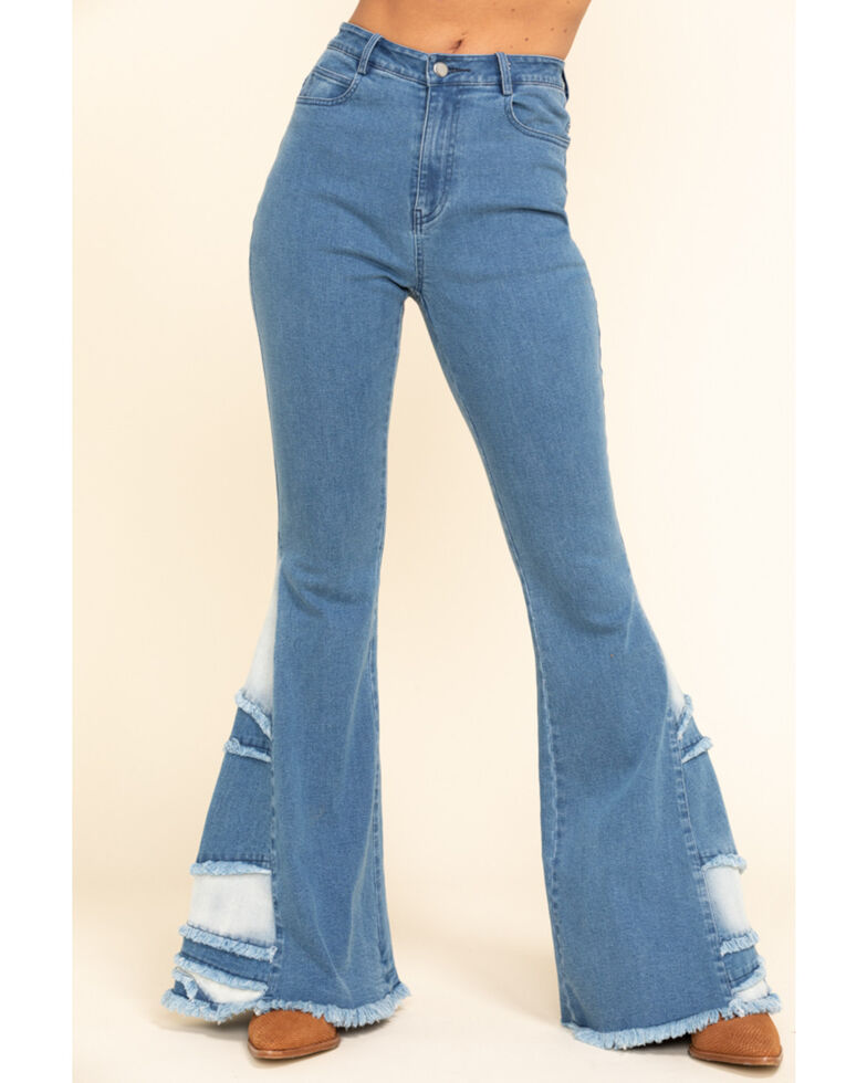 Chrysanthemum Women's Medium Mid-Rise Patch Inset Super Flare Jeans , Blue, hi-res
