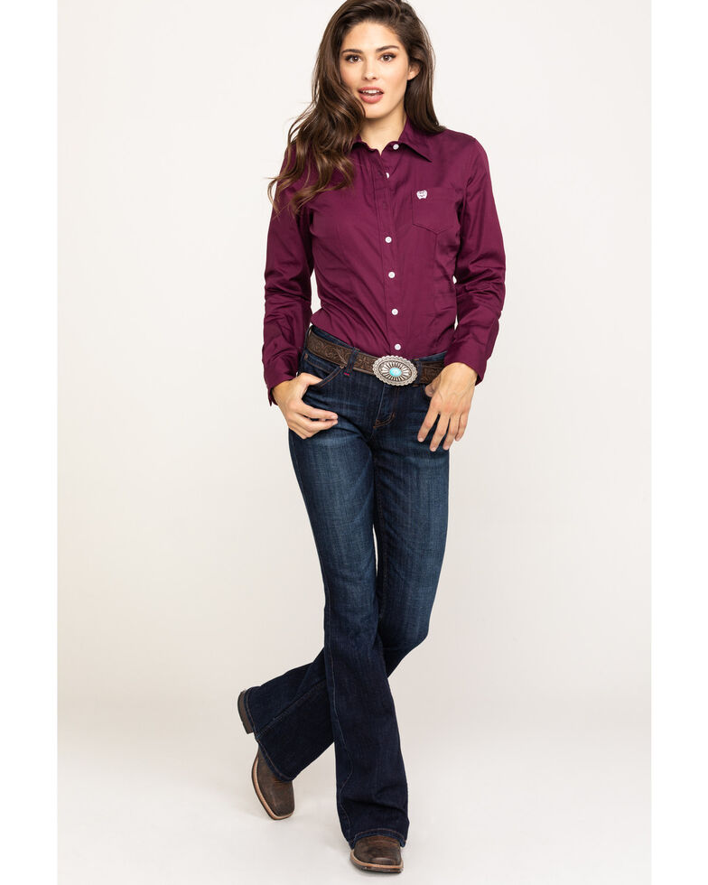 Cinch Women's Burgundy Button Down Long Sleeve Western Shirt , Burgundy, hi-res