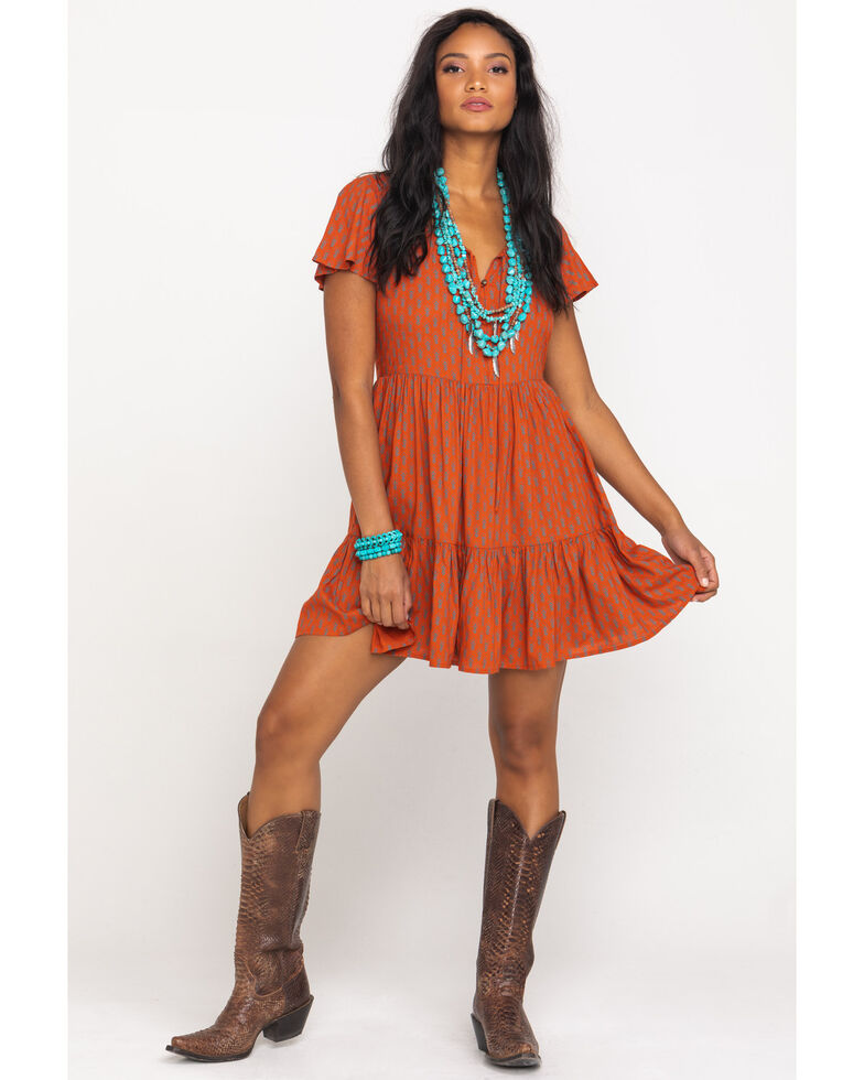 Patrons of Peace Women's Rust Print Button Front Babydoll Dress, Rust Copper, hi-res
