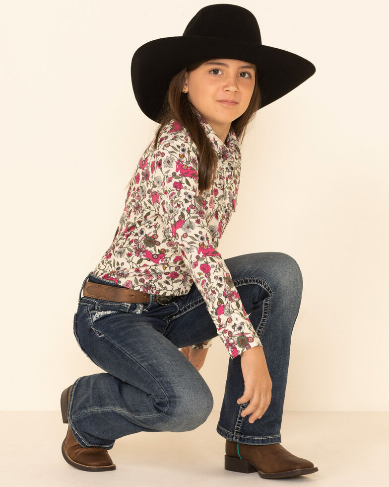 Shyanne Girls' Ivory Floral Print Long Sleeve Western Shirt , Ivory, hi-res
