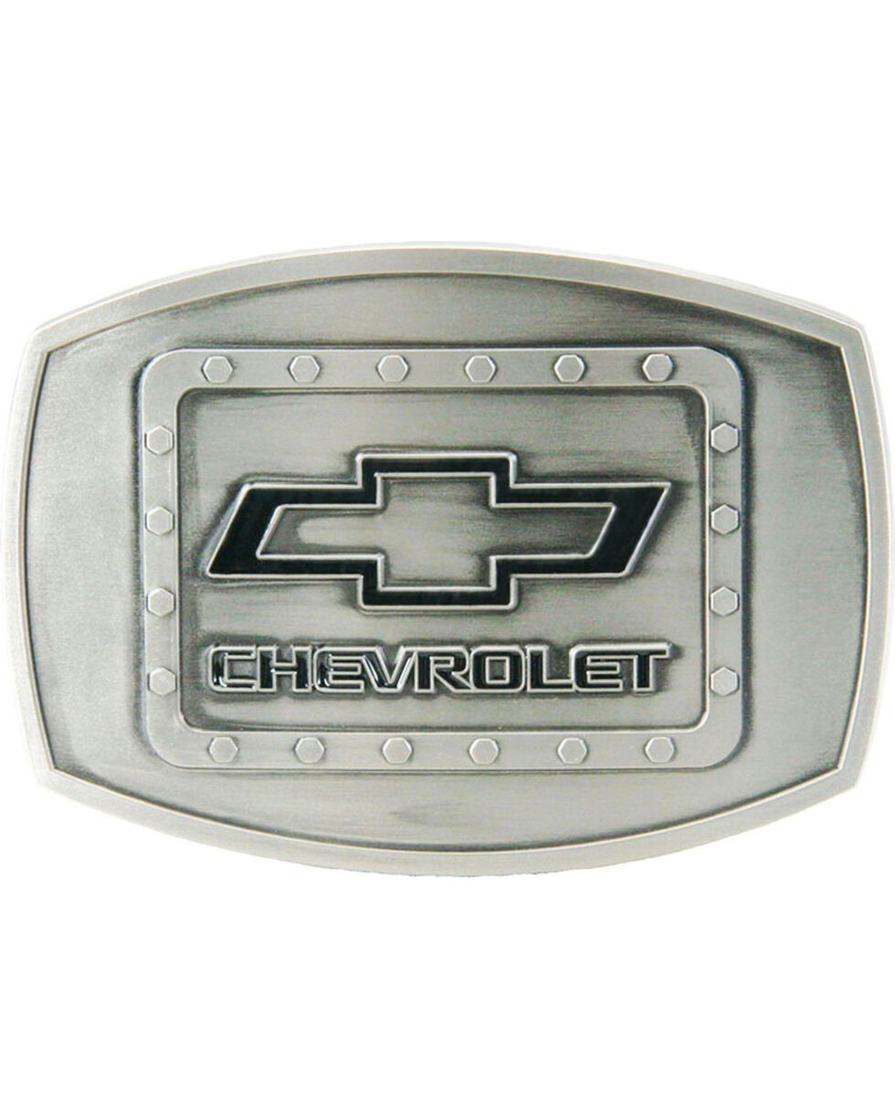 Western Express Men's Silver Chevy Riveted Buckle , Silver, hi-res