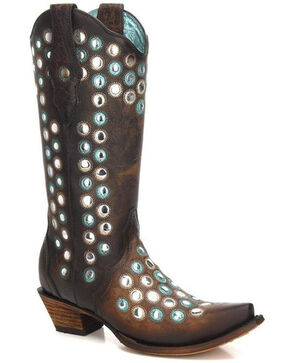 Corral Women's Brown Studded Embroidered Cowgirl Boots - Snip Toe, Brown, hi-res