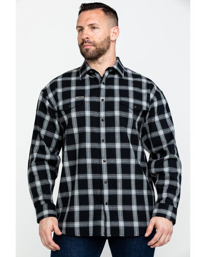 Powder River Outfitters Men's Brushed Twill Heather Plaid Flannel Shirt , Black, hi-res