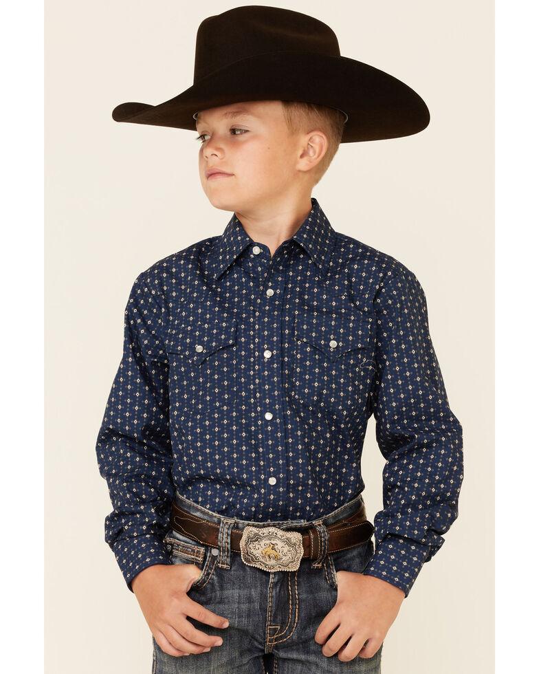 Ely Walker Boys' Navy Geo Print Long Sleeve Snap Western Shirt , Navy, hi-res