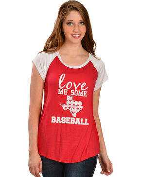 Katydid Women's Love Me Some Baseball Tee, Red, hi-res