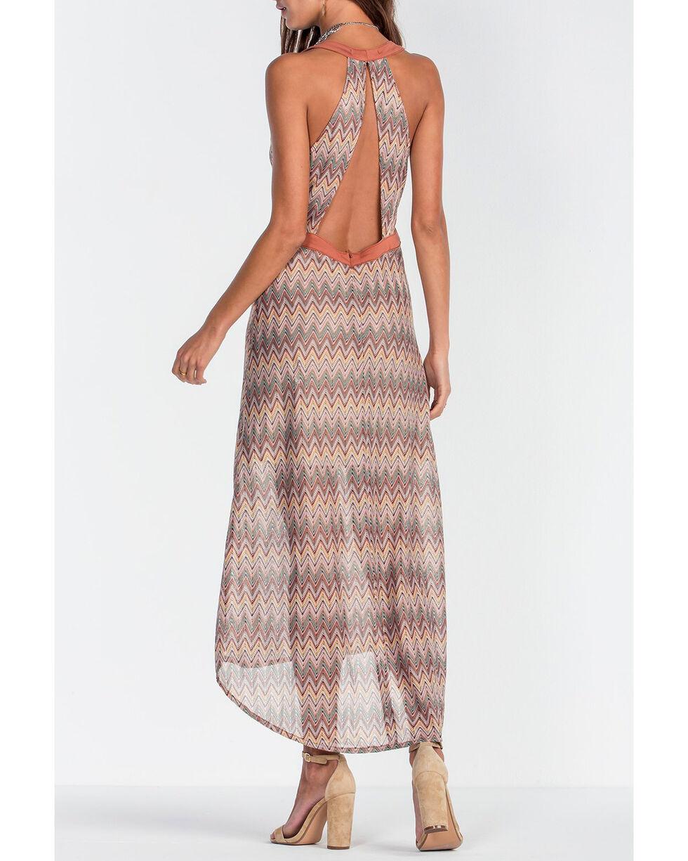 Miss Me Women's Brown Deep V-Neck Print Long Dress , Brown, hi-res