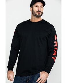 Ariat Men's FR Flame Logo Long Sleeve Work Shirt - Tall , Black, hi-res