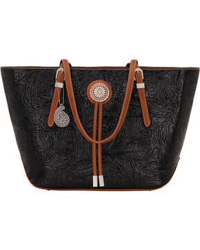 Bandana by American West Dallas Black Zip Top Tote , Black, hi-res