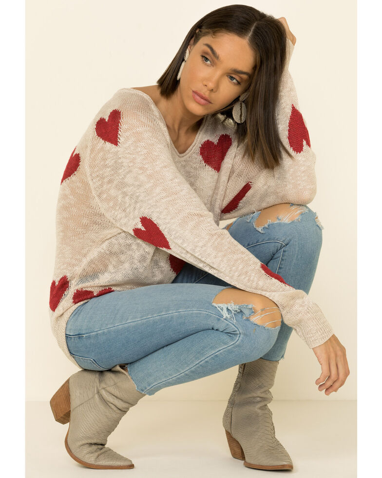 Blank Paige Women's White Heart Sweater, White, hi-res