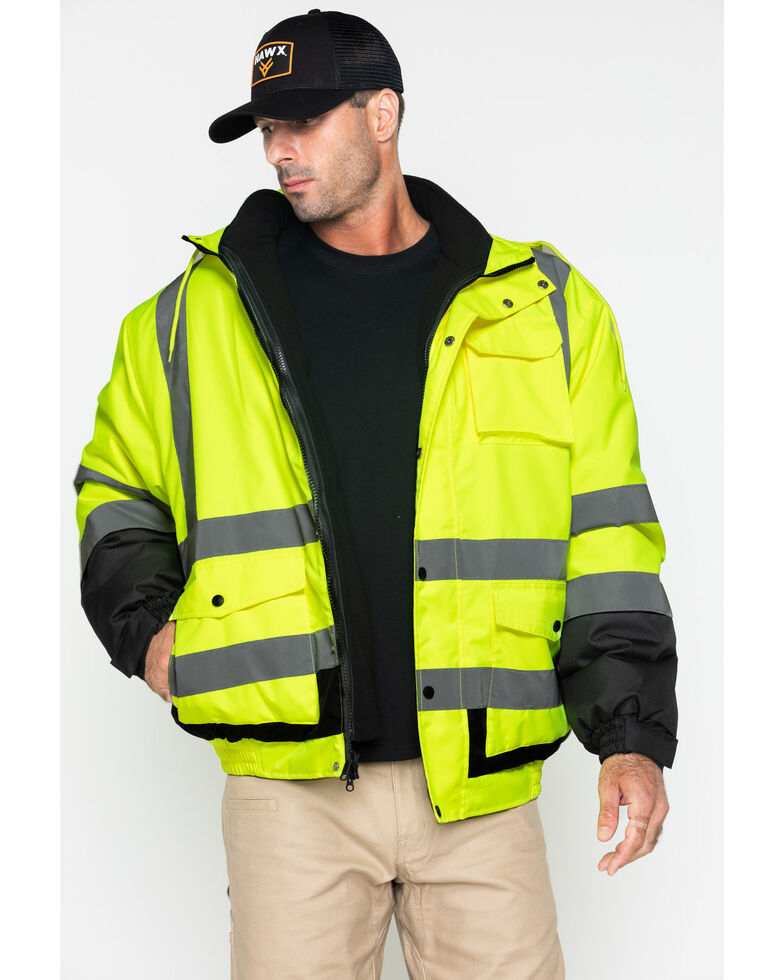 Hawx Men's 3-In-1 Hooded Reversible Bomber Work Jacket - Tall , Yellow, hi-res