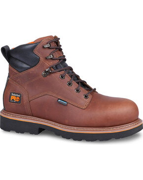 "Timberland Pro Men's Ascender 6"" Alloy Safety Toe Boots, Brown, hi-res"