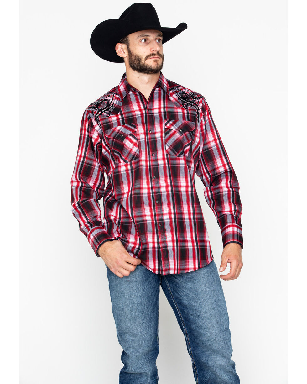 Ely Cattleman Men's Embroidered Plaid Long Sleeve Western Shirt , Red, hi-res