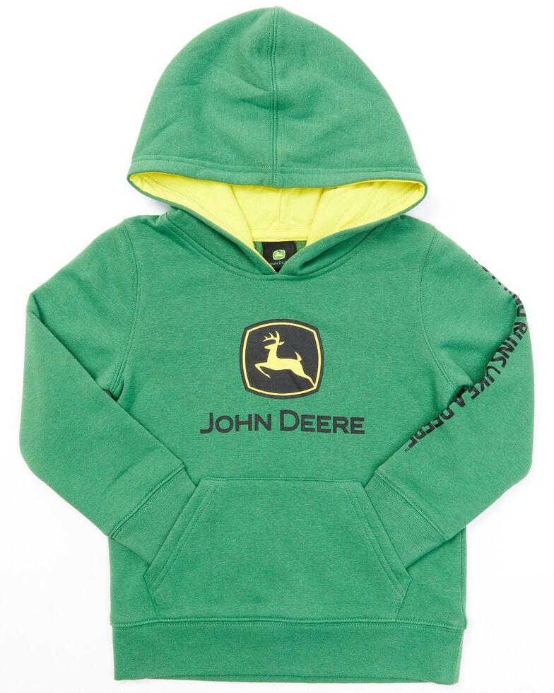 John Deere Toddler Boys' Green Trademark Fleece Hooded Sweatshirt, Green, hi-res