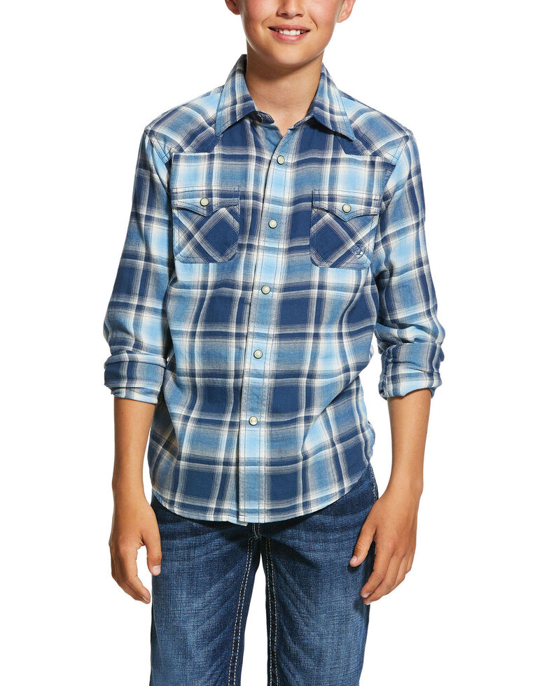 Ariat Boys' Jupiter Retro Large Plaid Long Sleeve Western Shirt , Multi, hi-res