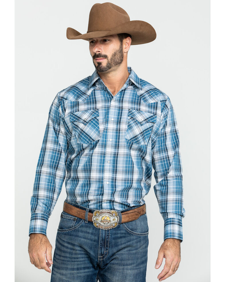 Ely Cattleman Men's Assorted Textured Multi Large Plaid Long Sleeve Western Shirt , Multi, hi-res