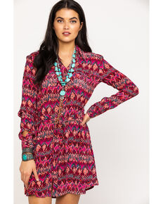 Roper Women's Aztec Shift Dress, Wine, hi-res