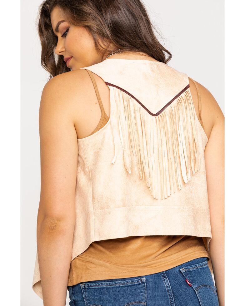 Shyanne Women's Faux Suede Fringe Vest, Stone, hi-res