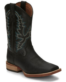 Justin Men's Tallyman Black Western Boots - Wide Square Toe, Black, hi-res
