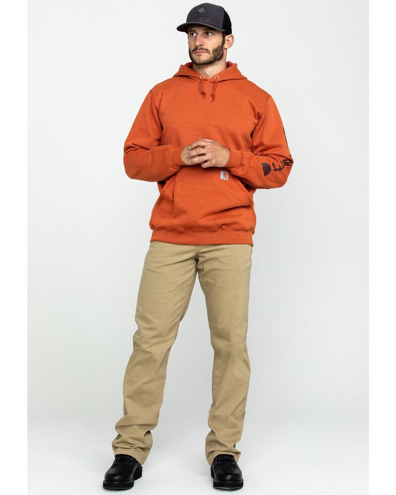 Carhartt Men's Mid Weight Hooded Logo Work Sweatshirt , Bark, hi-res